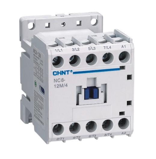 NC8系列交流接触器(以下简称接触器),主要用于交流50Hz(或60Hz),额定工作电压至690V,在AC-3/415V使用类别下额定工作电流至500A的电路中,供远距离接通和分断电路之用,并可与适当的热过载继电器组成电磁起动器以保护可能发生操作过负荷的电路,接触器适宜于频繁地起动和控制交流电动机。 该系列产品总共有8个壳架,20 个电流等级;包括3极产品和4极产品,( 100A以上无4极产品),其中12A 以下具有小型产品,38A以下可分为交流操作和直流操作两种,100A以上为交直流通用线圈,体积小,结